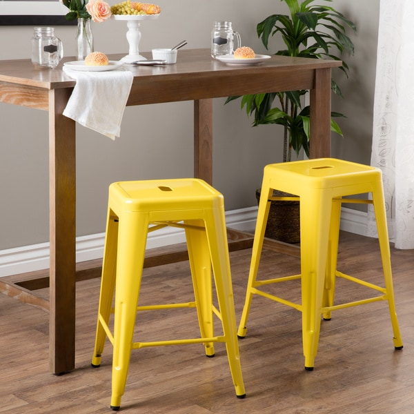 Tabouret 24 Inch Lemon Metal Counter Stools Set Of 2