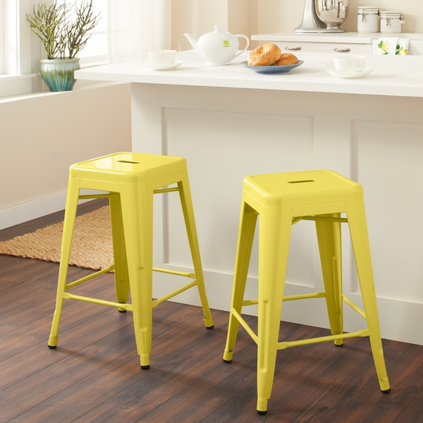I Love Living 24-inch Lemon Metal Counter Stools (Set of 2). Opens flyout.