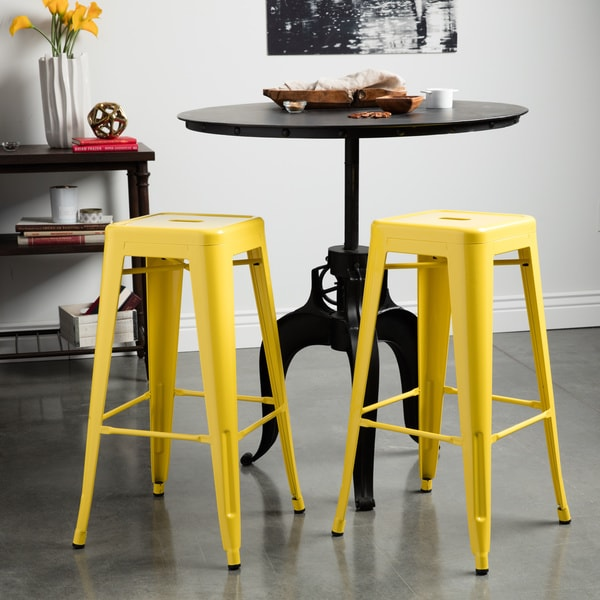 Tabouret 30 Inch Lemon Metal Bar Stools Set Of 2 Free Shipping Today Ov
