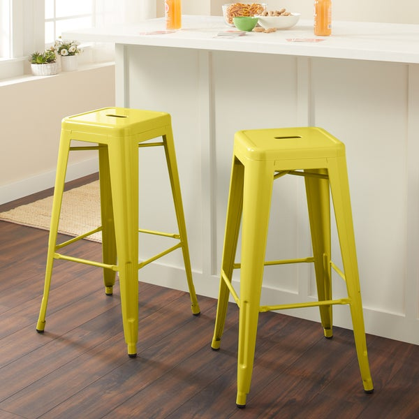Carbon Loft Tabouret 30-inch Lemon Metal Bar Stools (Set of 2)
