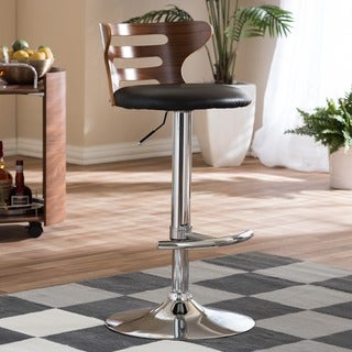 "Modern Brown and Black 24-32"" Adjustable Bar Stool by Baxton Studio"