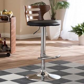 "Modern Brown and Black 24-32"" Adjustable Bar Stool by Baxton Studio"