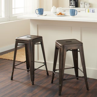 Carbon Loft Tabouret 24-inch Vintage Patina Backless Counter Stool (Set of 2) (2 options available)