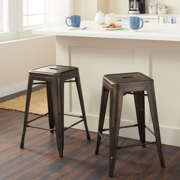 Shop 24 Inch Vintage Patina Backless Counter Stool Set Of