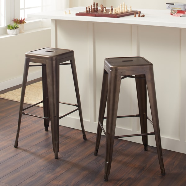 Shop Tabouret 30 Inch Vintage And Gunmetal Bar Stools Set Of 2