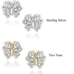 DB Designs Two-tone Sterling Silver Diamond Accent Butterfly Earrings