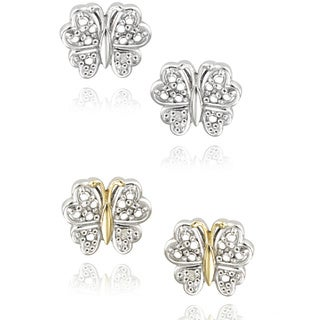 DB Designs Two-tone Sterling Silver Diamond Accent Butterfly Earrings (2 options available)