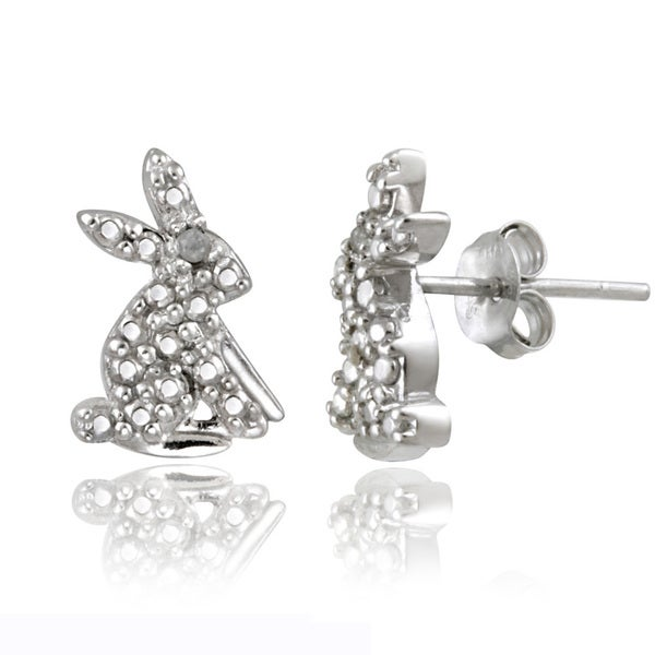 DB Designs Sterling Silver Diamond Accent Rabbit Earrings