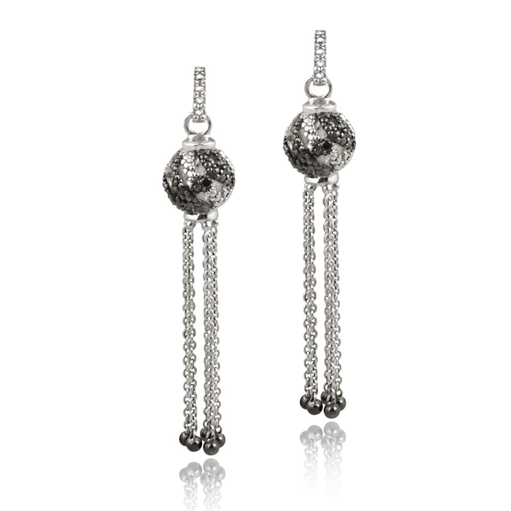 DB Designs Sterling Silver Black Diamond Accent Ball and Tassel Earrings