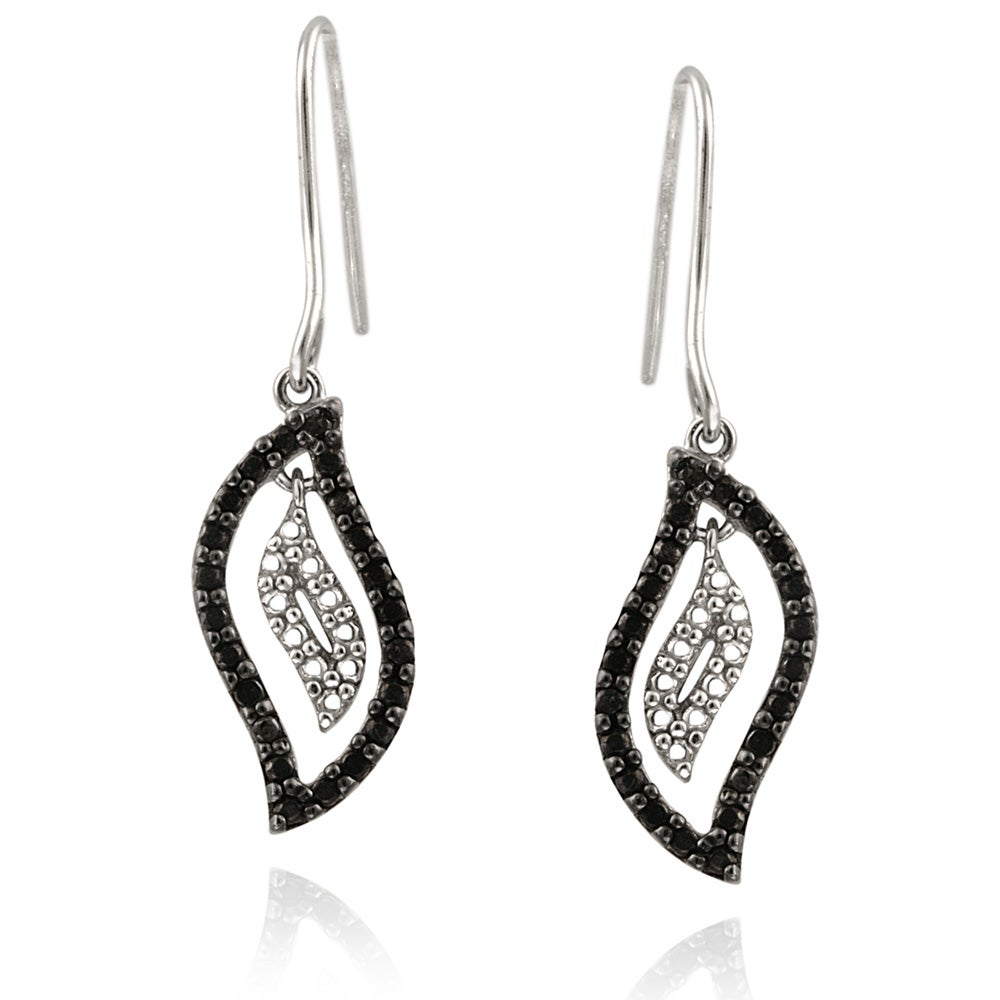 DB Designs Sterling Silver Black Diamond Accent Flame Earrings