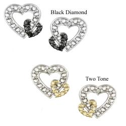 DB Designs Two-tone Sterling Silver Diamond Accent Open Heart Earrings