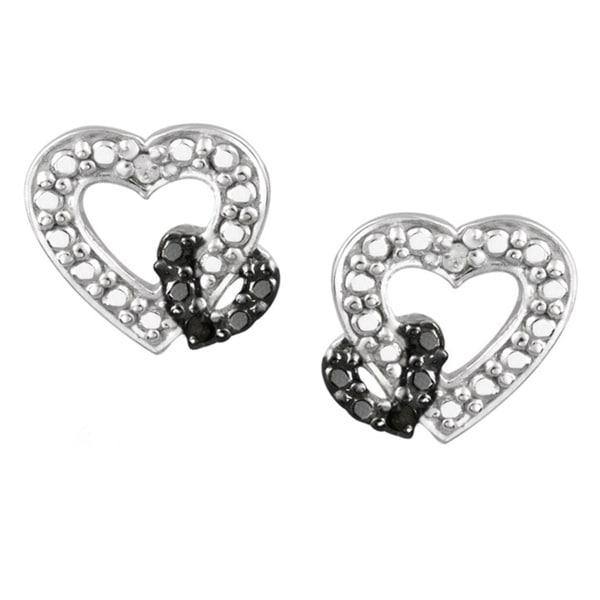 DB Designs Two Tone Sterling Silver Diamond Accent Open Heart Earrings