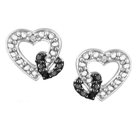 DB Designs Two-tone Sterling Silver Diamond Accent Open Heart Earrings