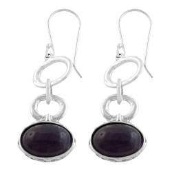 Fremada Sterling Silver Oval Cabochon Amethyst Dangle Earrings