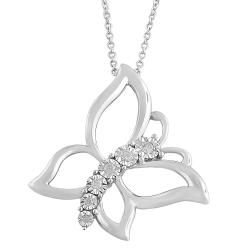 Fremada Rhodium-plated Silver 1/10ct TDW Diamond Butterfly Necklace (H-I, I1-I2)