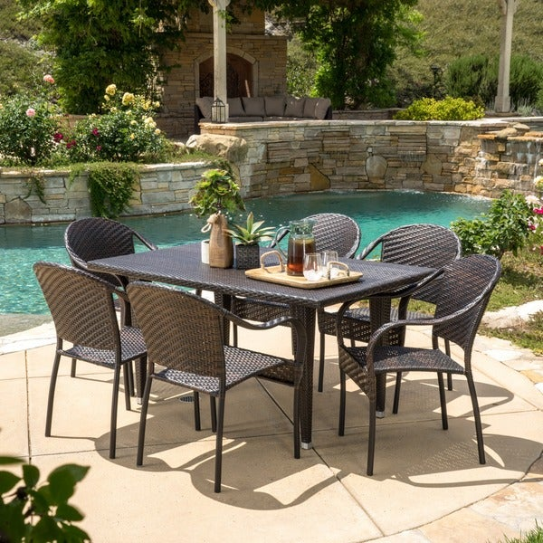 Zumba PE Wicker 7 Piece Outdoor Dining Set By Christopher Knight Home Part 34