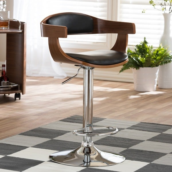 "Modern Brown and Black 24-32"" Adjustable Bar Stool"