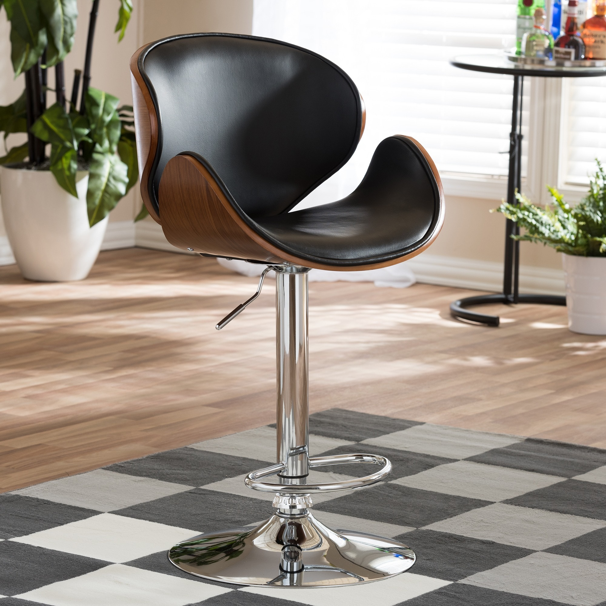 """Modern Brown and Black 24-32"""" Adjustable Bar Stool by Bax..."""