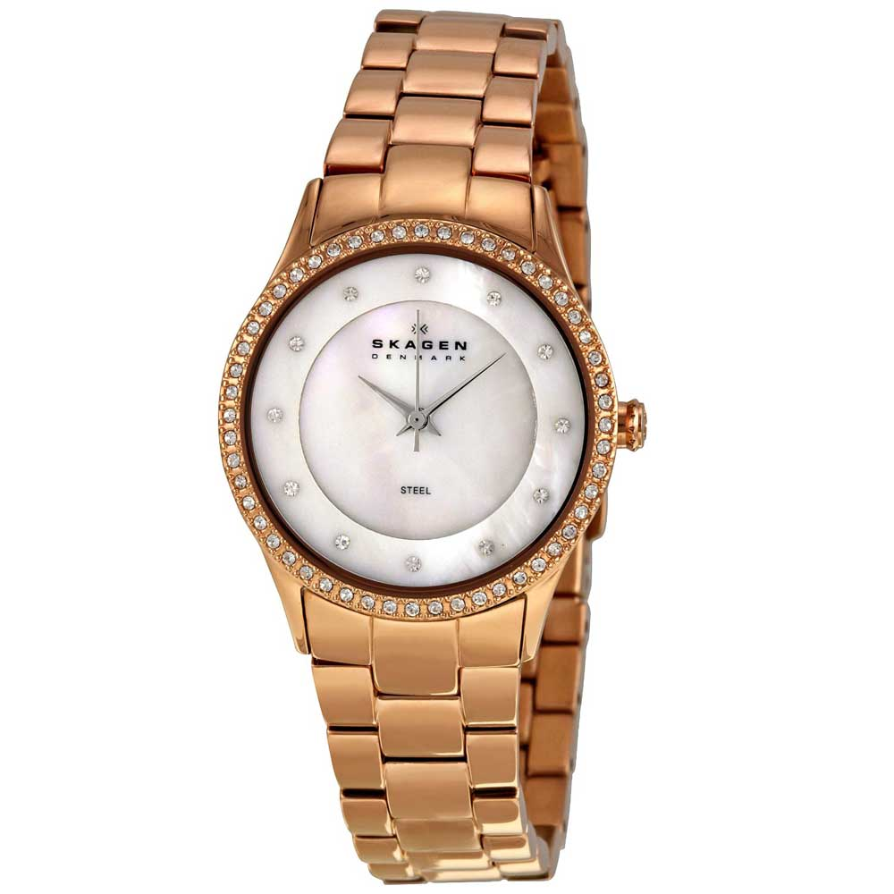 91e4693db Shop Skagen Women's Rose Gold Stainless Steel MOP Dial Watch - Free  Shipping Today - Overstock - 6839763
