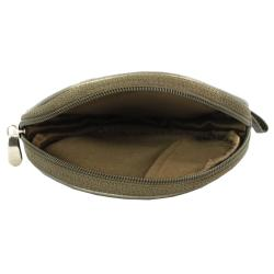 Silver Leather Paneled Stripes Unisex Round Coin Compact Purse - Thumbnail 1