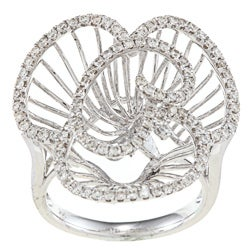 Victoria Kay 14k White Gold 7/8ct TDW Diamond Flower Ring