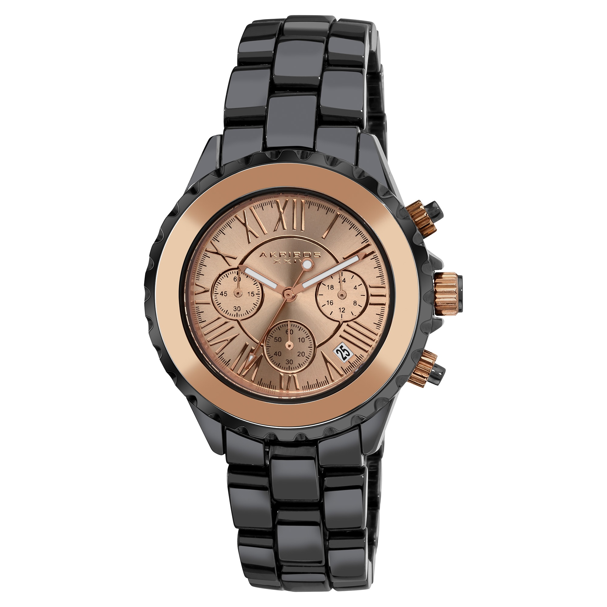Akribos XXIV Men's Ceramic Rose-tone Chronograph Watch