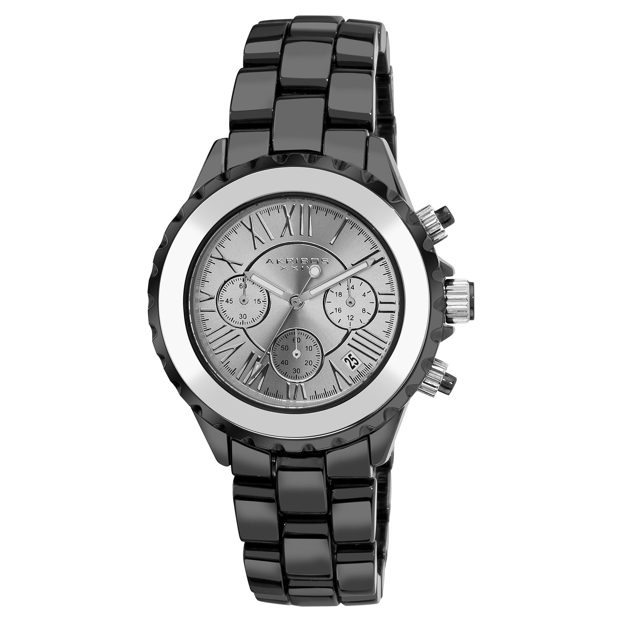 Akribos XXIV Men's Ceramic Silver-tone Chronograph Watch
