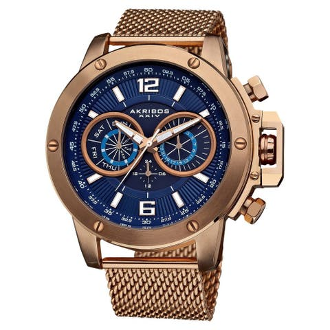 Akribos XXIV Men's Mesh Rose-Tone Bracelet Multifunction Watch