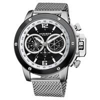 Akribos XXIV Men's Mesh-Silver-Tone Bracelet Multifunction Watch with Black Dial
