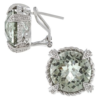 14k Gold Green Amethyst and 1/10ct TDW Diamond Earrings (G-H, I1-I2)