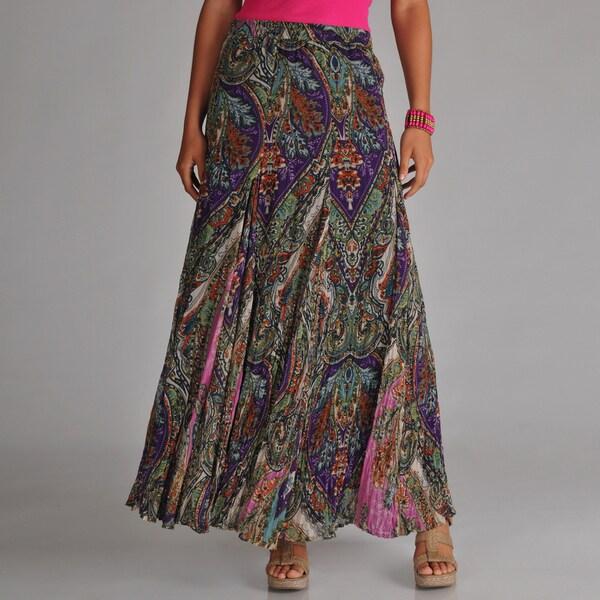 Chelsea & Theodore Women's Paisley Maxi Skirt - Purple