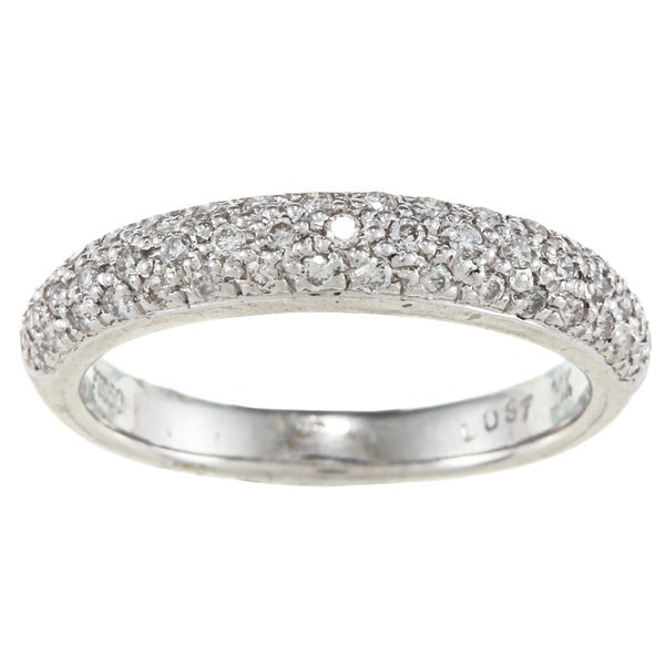Platinum 3/8ct TDW White Diamond Pave Ring (G-H, I1)