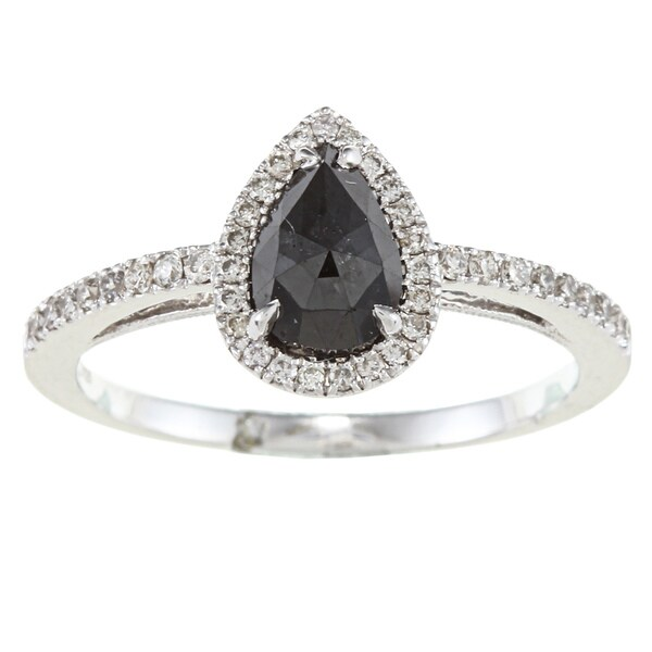 14k White Gold 1 1/8ct TDW Black and White Diamond Halo Ring (H-I, SI1-SI2)
