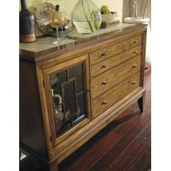 Distressed Wheat Four-drawer Glass Panel Dresser