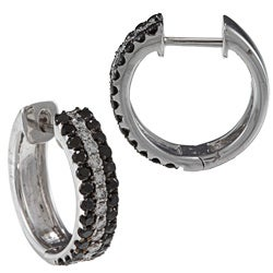 Victoria Kay 18k Gold 1 1/3ct TDW Black and White Diamond Hoop Earrings (G-H, SI1-SI2)