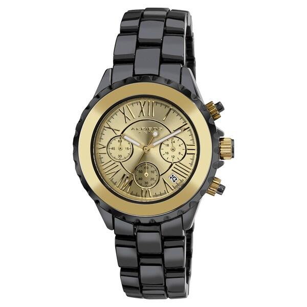 Akribos XXIV Men's Ceramic Goldtone Chronograph Watch