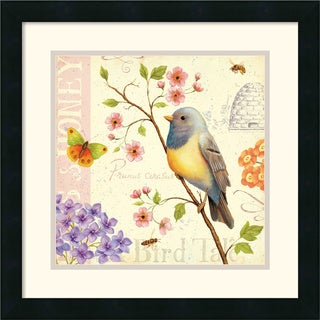 Framed Art Print 'Birds and Bees I' by Daphne Brissonnet 18 x 18-inch