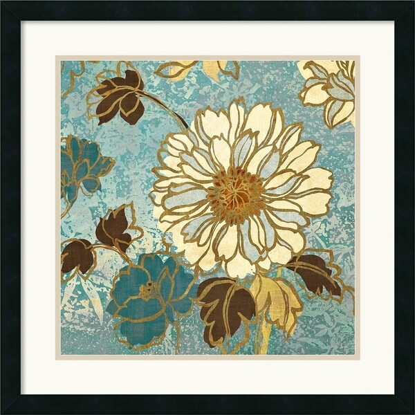 Wild Apple 'Sophias Flowers II Blue' 25 x 25-inch Framed Art Print