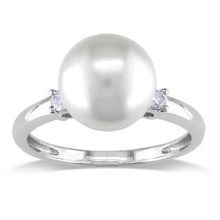 Miadora 14k White Gold 1/10ct TDW Diamond and South Sea Pearl Ring (G-H, I1-I2)