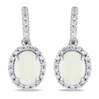 Miadora 10k White Gold Opal and Created White Sapphire Earrings