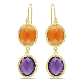 Miadora Yellow Gold Plated Silver Amethyst and Carnelian Dangle Earrings