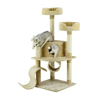 Go Pet Club 55-inch Cat Tree with Hanging Balls and Comfort Bed