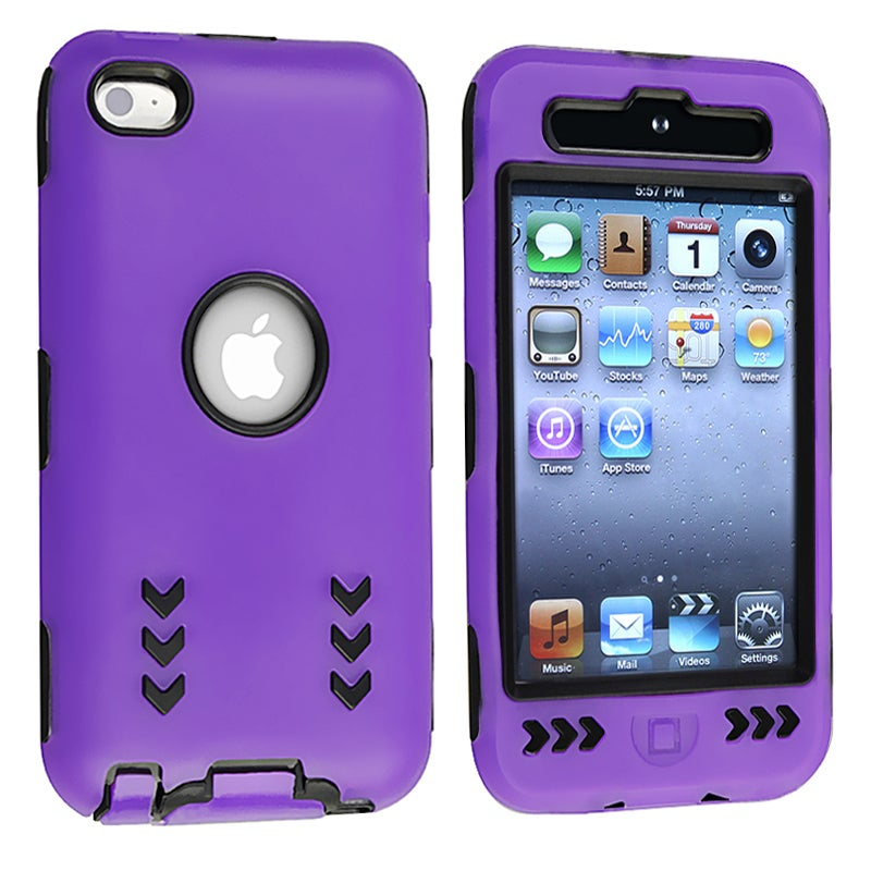 INSTEN Black/ Purple Hybrid iPod Case Cover with Stand for Apple iPod Touch Generation 4
