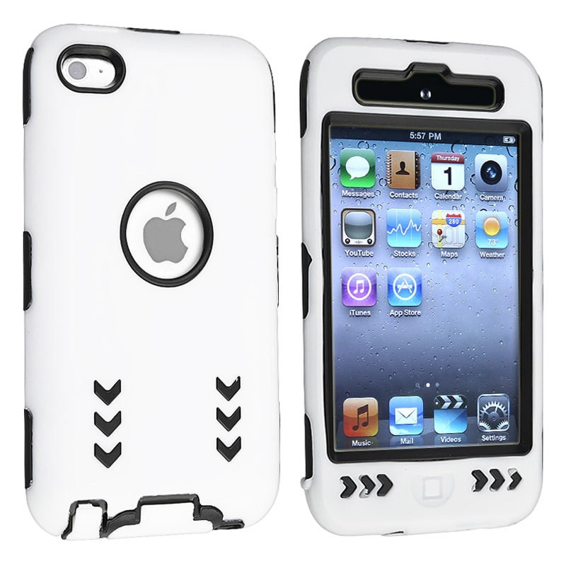 INSTEN Black/ White Hybrid iPod Case Cover with Stand for Apple iPod Touch Generation 4