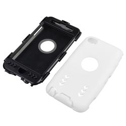 INSTEN Black/ White Hybrid iPod Case Cover with Stand for Apple iPod Touch Generation 4 - Thumbnail 1