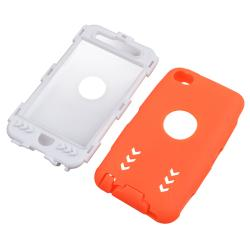 White/ Orange Hybrid Case with Stand for Apple iPod Touch Generation 4