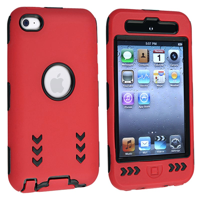 Black/ Red Hybrid Case with Stand for Apple iPod Touch Generation 4