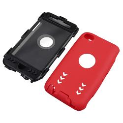 Black/ Red Hybrid Case with Stand for Apple iPod Touch Generation 4 - Thumbnail 1