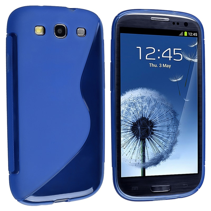INSTEN Blue S Shape TPU Rubber Skin Case Cover for Samsung Galaxy S III i9300