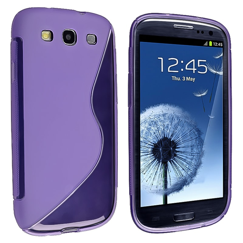 Purple S Shape TPU Rubber Skin Case for Samsung Galaxy S III i9300 - Thumbnail 0